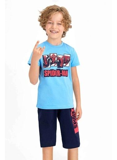 Spider-Man Spider Man Lisanslı Bejmelanj Erkek Çocuk Kapri Takım Mavi